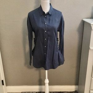 NET SZ M EXPRESS BUTTON DOWN SHIRT W/SIDE LACE UP
